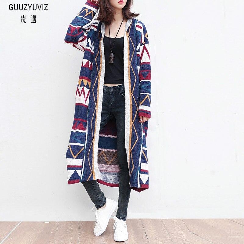 GUUZYUVIZ 2018 зима осень Sueter Mujer Повседневный свободный геометрический принт трикотажный длинный кардиган Женская верхняя одежда винтажный женский свитер