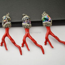 New Design 5Pcs Red Coral Pendants, Branch Shape Coral Pendant With Skull Head Crystal Rhinestone Paved Caps Pendants Jewelry