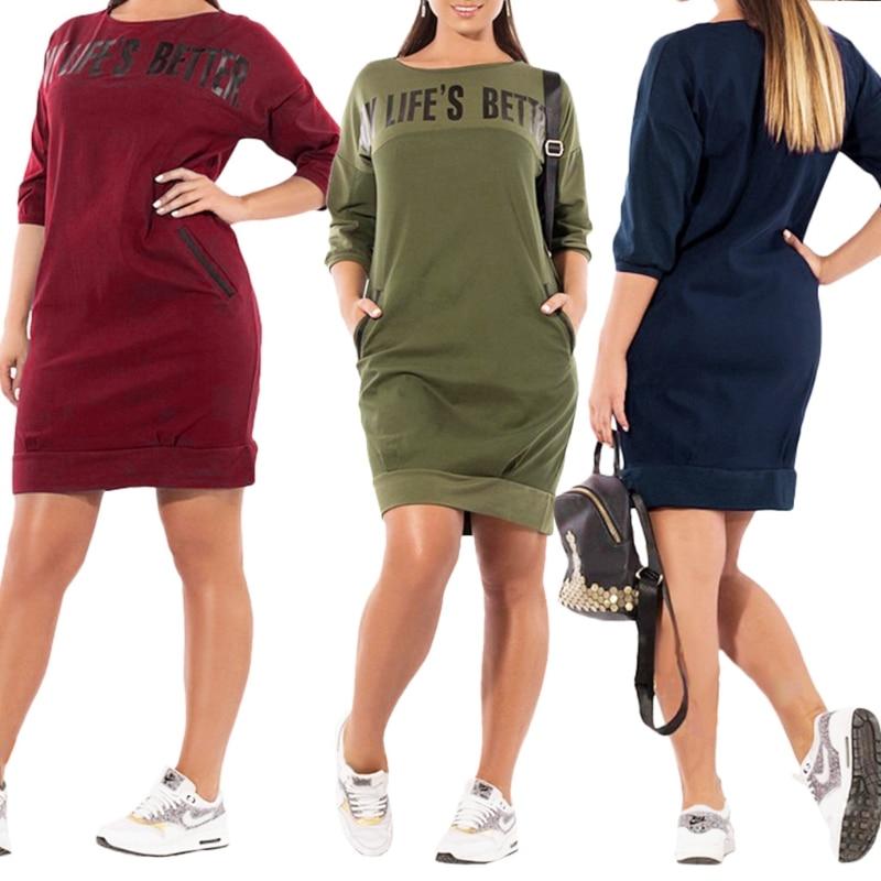 Detail Feedback Questions about Letter Print New Women Dresses Warm Plus  Size Casual Elegant Blue Women Clothing 5XL 4XL 3XL XXL XL   on  Aliexpress.com ... 15d30f15d5b5