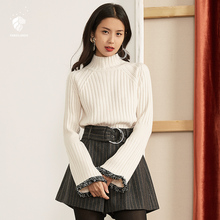 FANSILANEN 2017 Fashion New Arrival Autumn/Winter Novelty Women Solid Beige Flare Sleeve Sweater And Pullovers Z72166