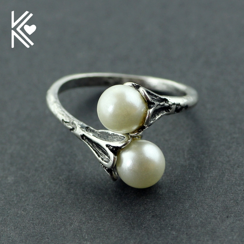 Game of Thrones rings Daenerys Targaryen two Simulated Pearl Antique Silver Vintage Female ring Lovely gift Hot