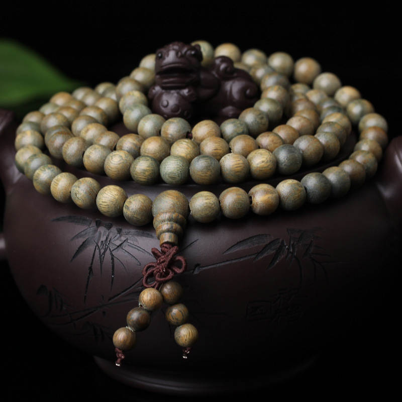 BRO772 Natural Green Sandalwood 216x6mm Prayer Rosary Natural Verawod Buddhist beaded Long Bracelets