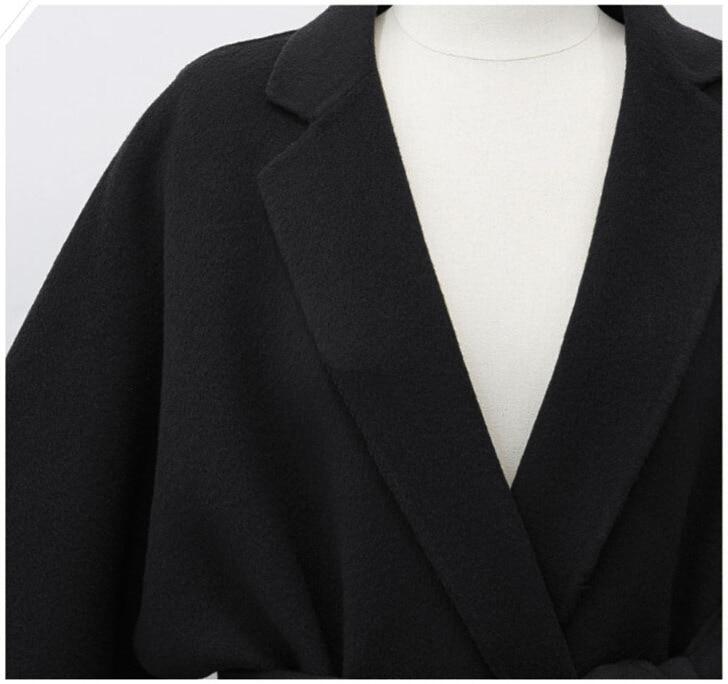 De Hiver En Feminino gris Coupe Long Manteaux Casaco Casual vent Pardessus Outwear Cachemire Mélangée 2018 Femmes Manteau Automne Noir Laine Ceinture Xqx455w