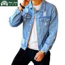 New Fashion Denim Jacket Men Spring Autumn Hip Hop Hole Cowboy Jacket