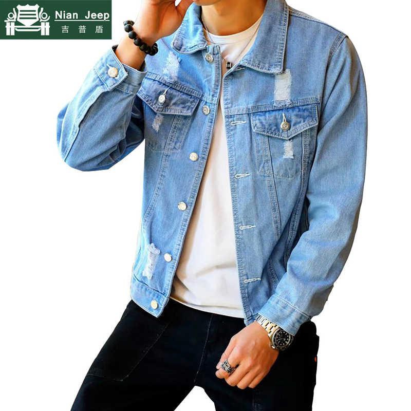 新ファッションデニムジャケットの男性の春秋ヒップホップ穴カウボーイジャケット男性ストリートスリム洗浄ジャン服サイズ m-3XL