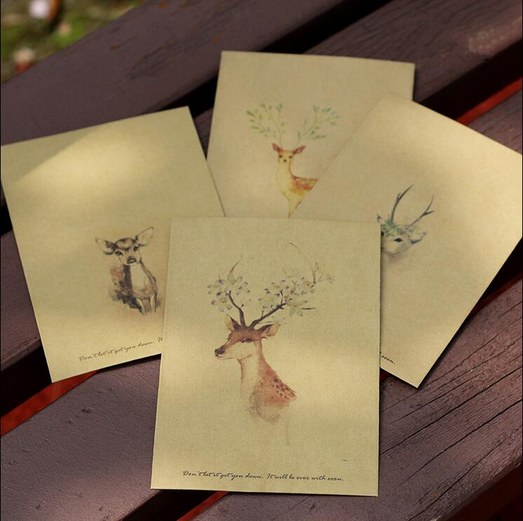 4pcs/lot Deer Design Retro Vintage Kraft Paper Envelopes16*11cm Cute Cartoon Kawaii Paper Korean Stationery Gift 1638 Waterproof, Shock-Resistant And Antimagnetic