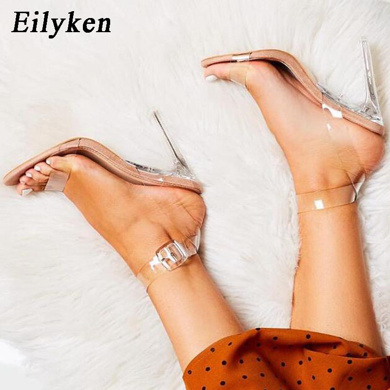 Eilyken 2019 New PVC Jelly Sandals Crystal Open Toed Women Transparent  Thin Heels Sandals Buckle Strap Pumps 12CM Size 35-42