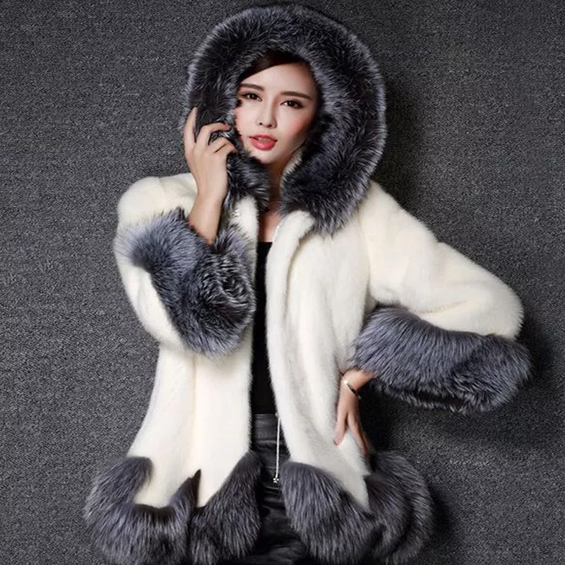 High Quality Mink Fur Hoody Coat Women Faux Mink Cashmere fashion Coats Luxury White Black Oversize Shawl Cardigan Fur Coat A615