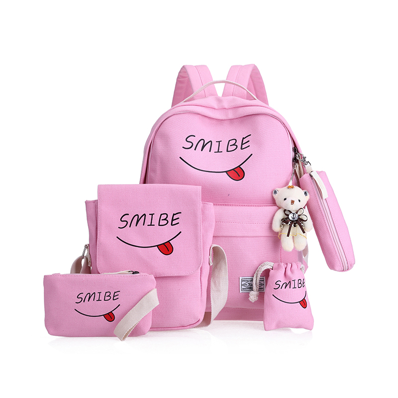 Summer Women Canvas 5Set Backpack Printing Students Bookbag 4 Pcs School Bag Set For Youth Girls With Purse Bear Mochila 4 pieces set of summer women canvas backpack girl student lace book bag with high quality backpack child juvenile bag