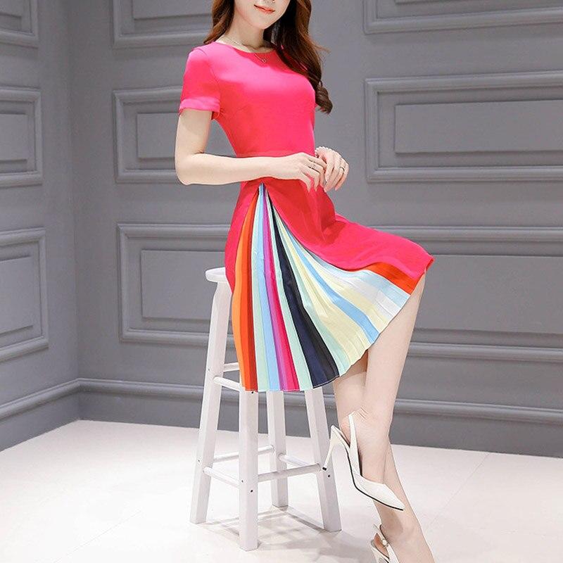 Korean Style Plus Size S-3XL 2018 Spring Summer Rainbow Stripe Printing Women Dress O-neck Knee-length A-line Summer Dress