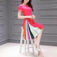 0745f02b862 Korean Style Plus Size S-3XL 2019 Spring Summer Rainbow Stripe Printing  Women Dress O