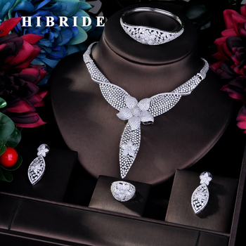 HIBRIDE Luxury CZ Pave Big Full Jewelry Sets For Women Bridal Wedding Accessories Jewelry Wholesale Price N-760