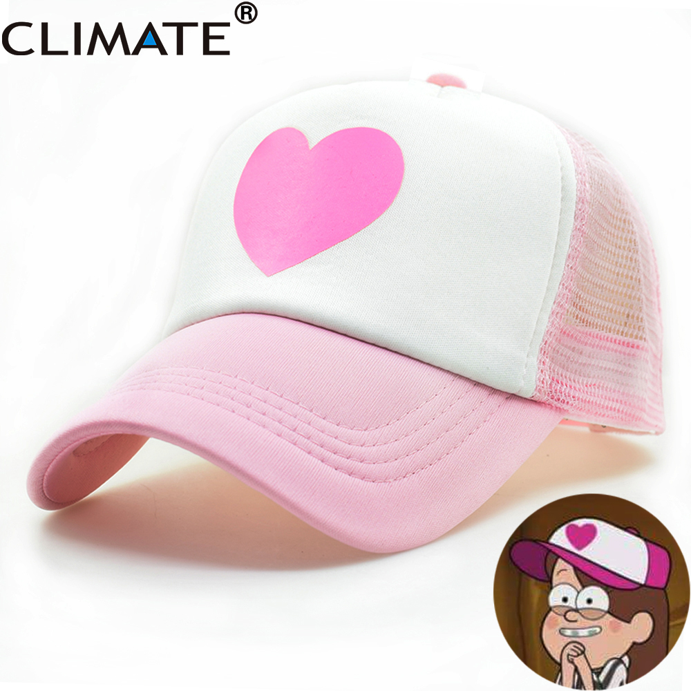 CLIMATE Girl Women Pink Mesh Summer Trucker Caps Gravity Falls Mabel Dipper Cosplay Caps Young Girl Pink Cool Net Mesh Hat Caps 40 41 soft acoustic guitar bass case bag cc apb bag acoustic guitar padded gig bag with double padded straps and backpack