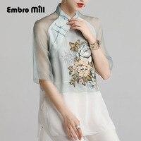Женская блузка рубашка Весна и лето Подиум Новый Ретро Народная вышивка шелковая женская рубашка цветочный китайский Модный женский топ