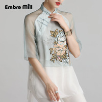 Women's blouse shirt spring and summer runway new retro folk embroidery Silk ladies shirt floral Chinese fashion lady top S XXL