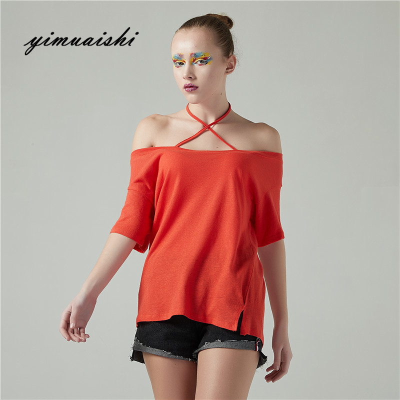 Summer Encolure T-Shirt Pour Femmes Sexy Cou T-Shirt Coton à Manches courtes T-shirt Casual T-shirts Femelle Haut des Deux côtés porter