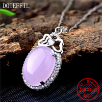 925 Sterling Silver Women Necklace Purple Crystal Zircon Pendant Necklaces Female Charm Fashion Jewelry