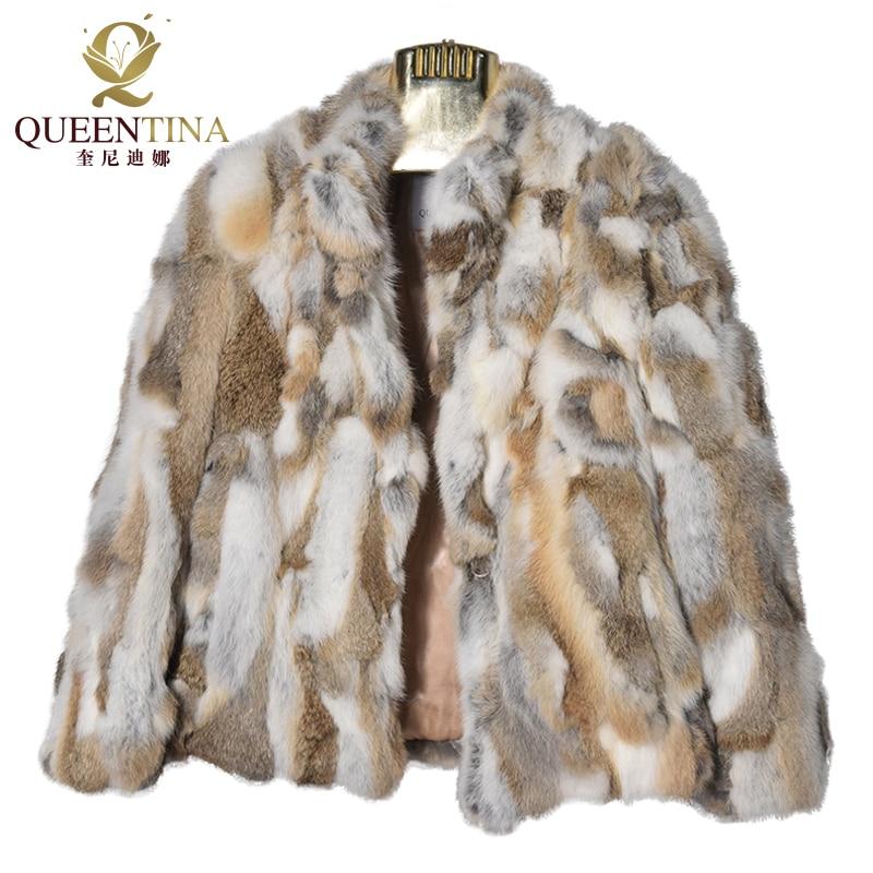 Stand Collar Real Fur Coat Patchwork Fashion Genuine Rabbit Fur Winter Coat Women Full Sleeve Natural