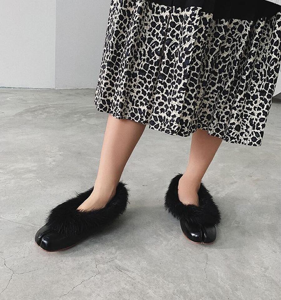 Sequine La Brun marron Chaussures Laine Perfetto En Fourrure Noir Noir Glissent Patchwork Fendu Plat Mocassins Bling Femmes Cuir Sur Véritable Orteil De Prova Hiver argent cEW4vPv