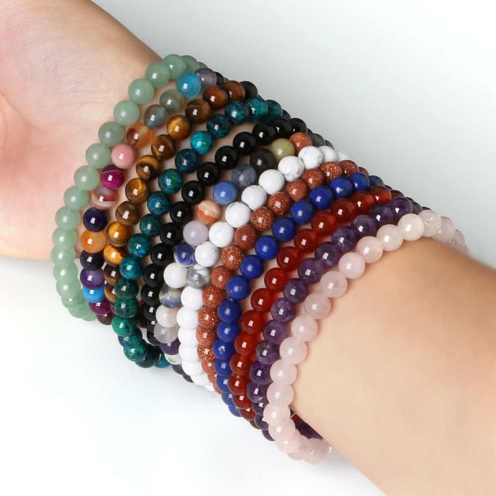 2018 Fashion 6MM Natural Stone Bracelet for Women Men Tiger Eye Amythests Turquois Agat Beaded Yoga Stretch Bracelets Bangles