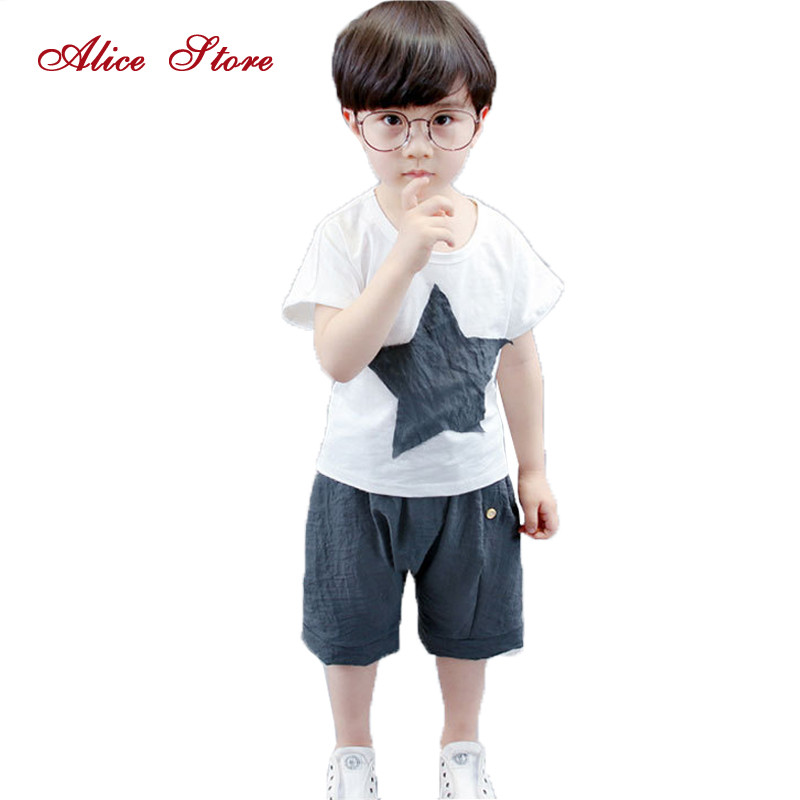 Childrens clothing sets baby boys five-pointed star patch t shirt + pants 2 pcs suit cotton and line for kids clothes