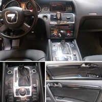 Para Audi Q7 2005-2019 manija de puerta de Panel de Control Central Interior 3D/5D pegatinas de fibra de carbono calcomanías accesorios de estilo de coche