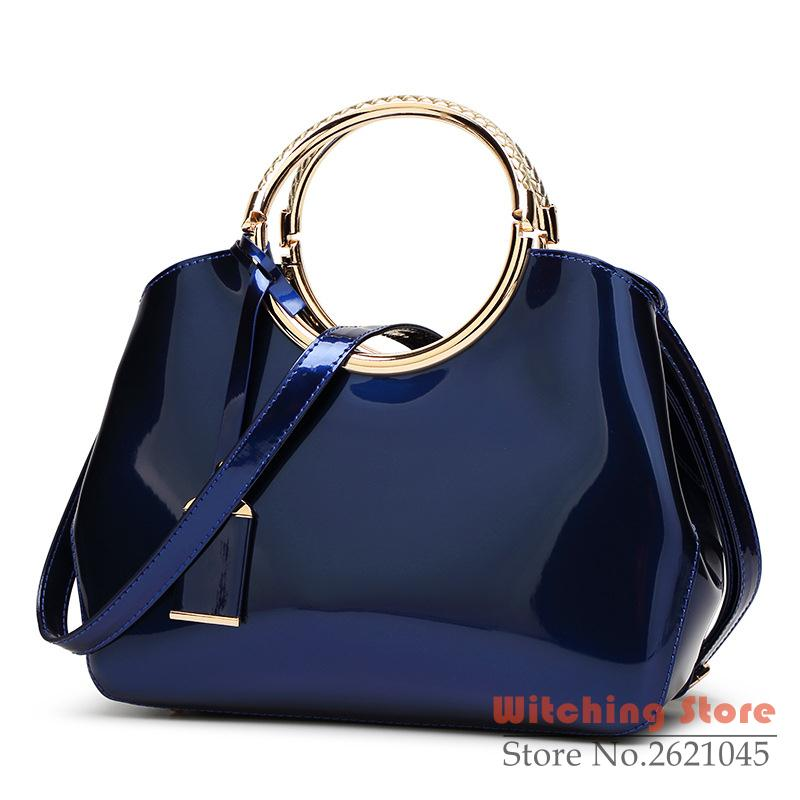 ФОТО Perfect# 2016 double ring leather handbag mirror bright bride married female fashion styling upscale atmosphere FREE SHIPPING