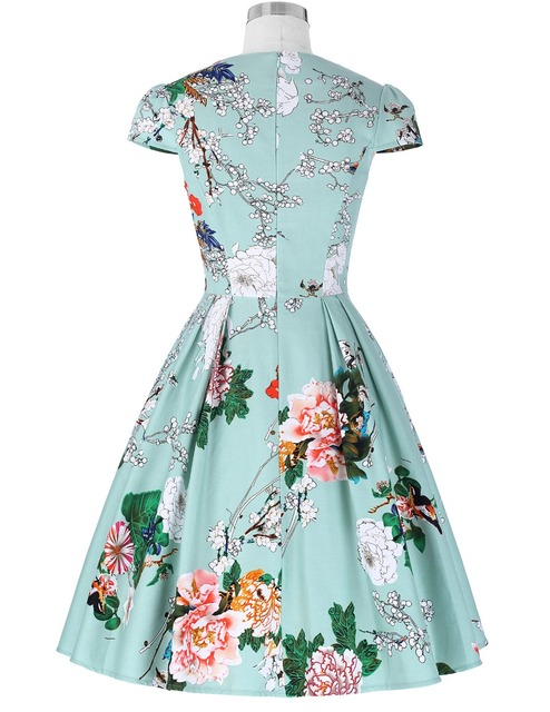 Women Floral Print Dress 2016 Plus Size Clothing Party Dresses Style Vestidos 1950s Flare 50s Pattern Vintage Rockabilly Dresses