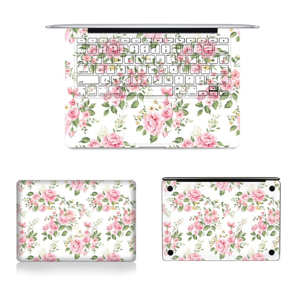 Laptop Full Vinyl Decal Top Bottom and Keyboard Side Elegant Floral Sticker Skins For Macbook Air Retina Pro 11121315 colorful laptop sticker decal skins for macbook 11 13 15 17 inch sticker for mac book rainbow logo free shipping new arrival