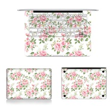 Laptop Full Vinyl Decal Top Bottom and Keyboard Side Elegant Floral Sticker Skins For Macbook Air Retina Pro 11″12″13″15″