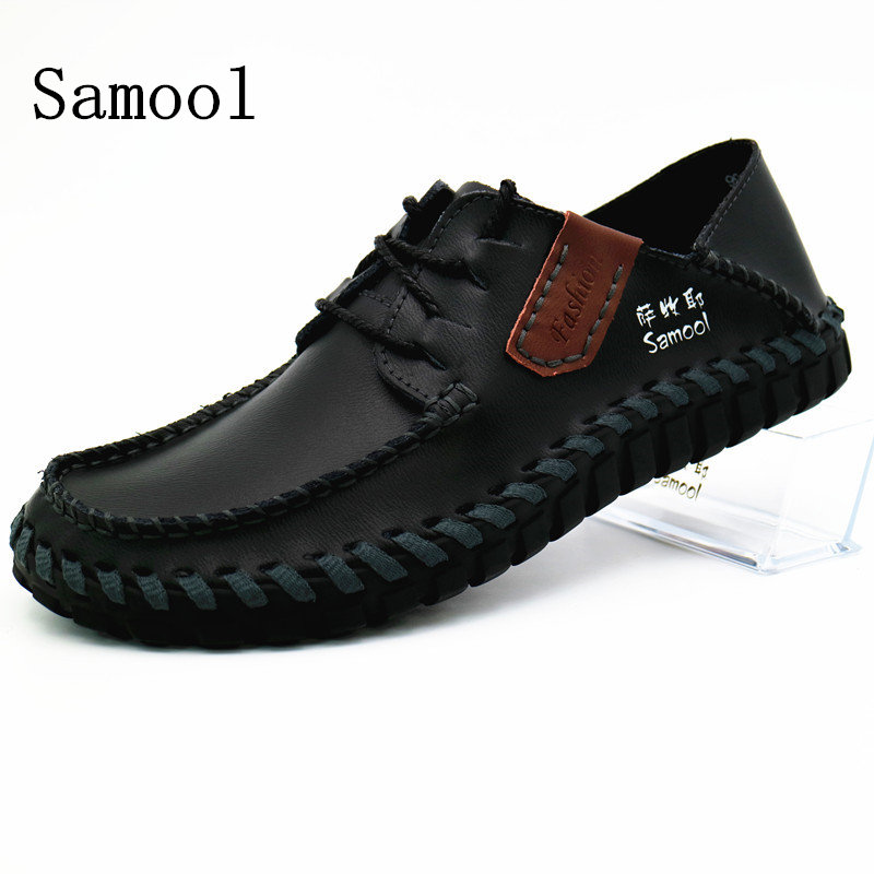 2017 Autumn Fashion Handmade High Quality Genuine Leather Men Flat - Men's Shoes