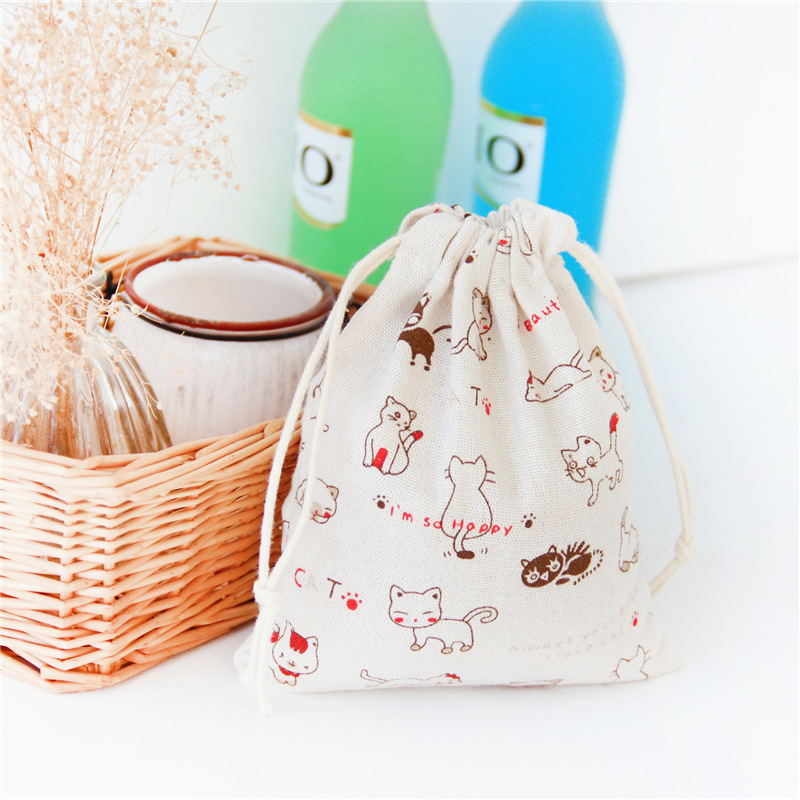 Soft Cotton Linen Drawstring Bag Lovely Cat Kitty Home Storage Jewelry Candy Packaging Bags Gift Pouch Travel Small Coin Purse