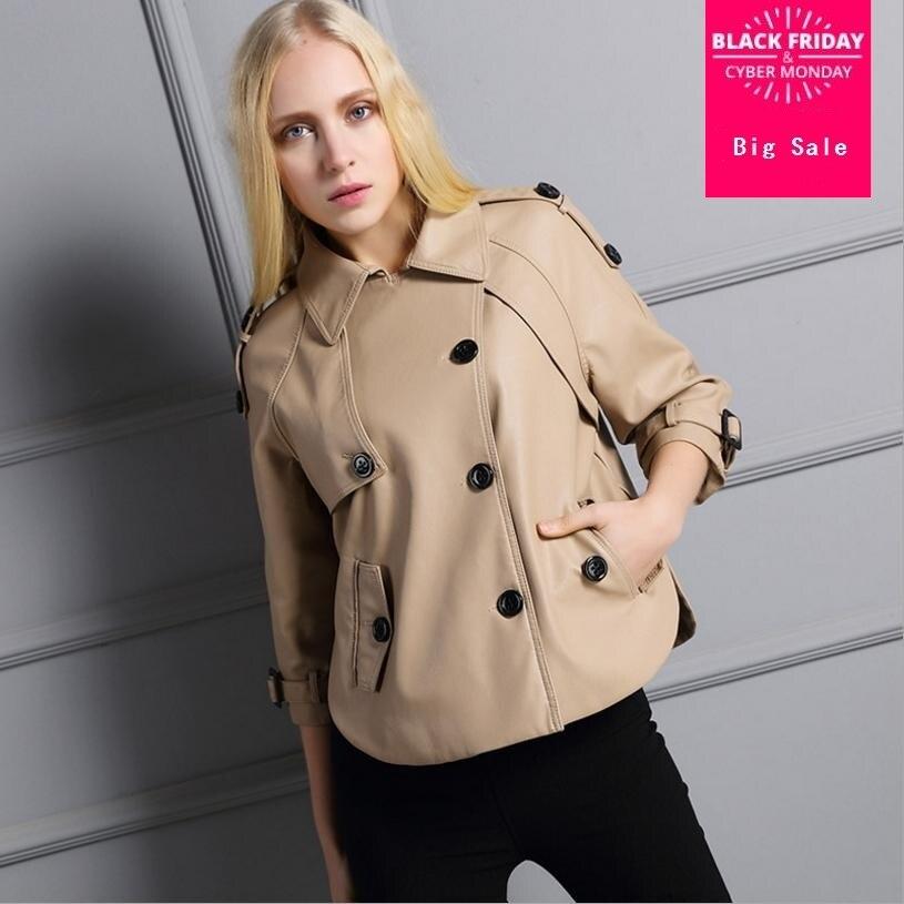 Winter New Pu   leather   jacket women short section split windbreaker caot loose straight was thin three sleeve outwear tops L1234