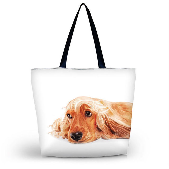 Pug Dog Women Shopping Bag Tote Lady's Single Shoulder Shopping Handbag Summer Beach Bag Grocery Packing Tote Eco Bags