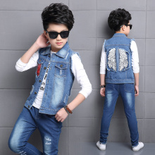 2018 Boy Denim waistcoat Spring fall angel wings style Kids Jacket Clothe ,Baby boys waist coat 4 5 7 8 9 10 years
