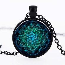 """Новое ожерелье """"цветок жизни"""" Ом Йога чакра кулон ожерелье с мандалой модный стеклянный купол Священная Геометрическая Женская бижутерия"""