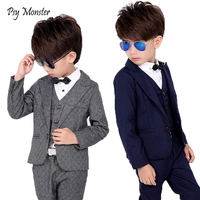 Brand Boys Formal Suits Wedding Party Tuxedo Jacket Waistcoat Shirt Pants Gentleman Kids Blazer Children Performance Clothes F17
