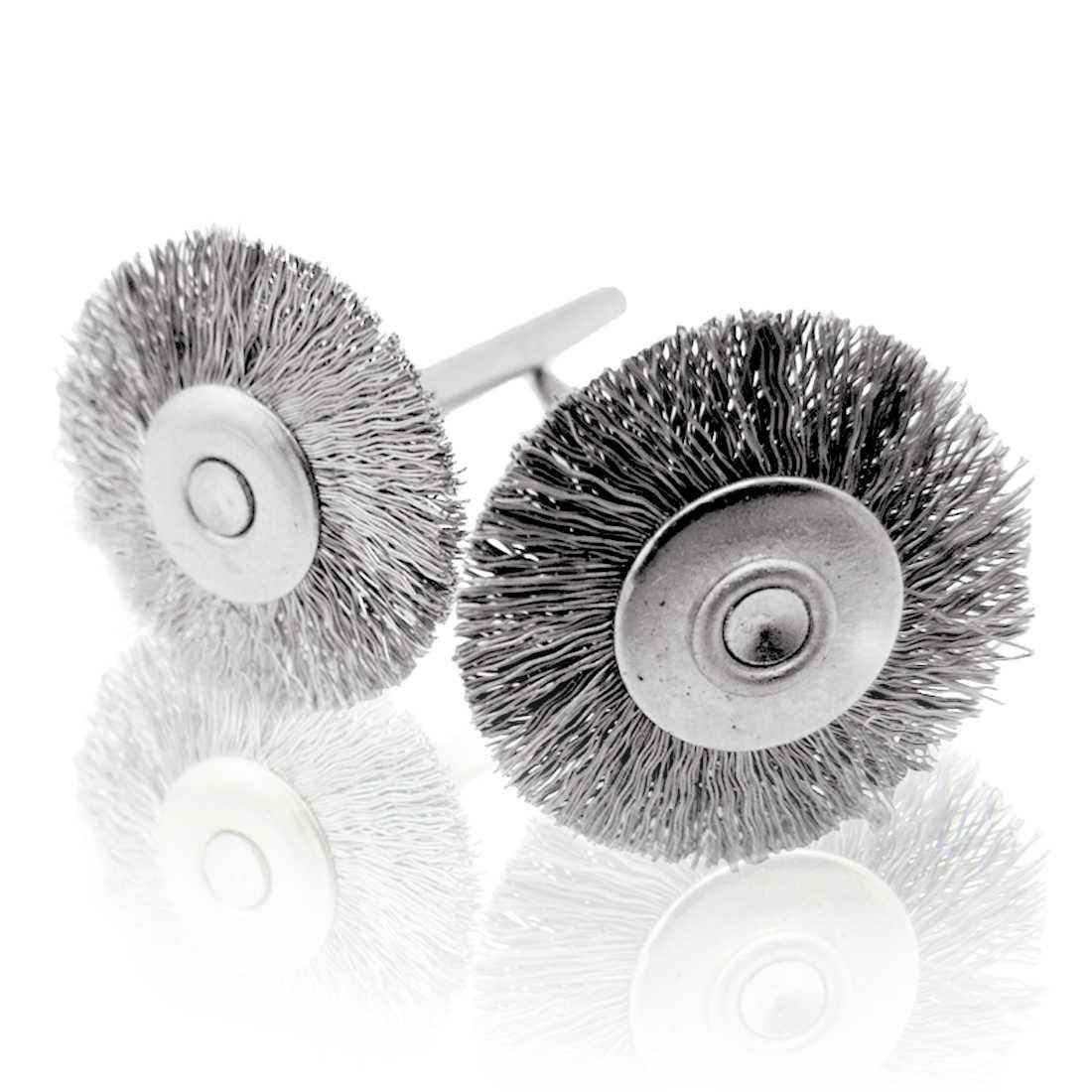 10 Uds 25mm Mini cepillo de alambre de acero inoxidable rueda de pulido para amoladora herramienta giratoria ruedas de pulido