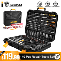 DEKO 140 Pcs Professional Car Repair Tool Set Auto Ratchet Spanner Screwdriver Socket Mechanics Tools Kit W/ Blow Molding Box