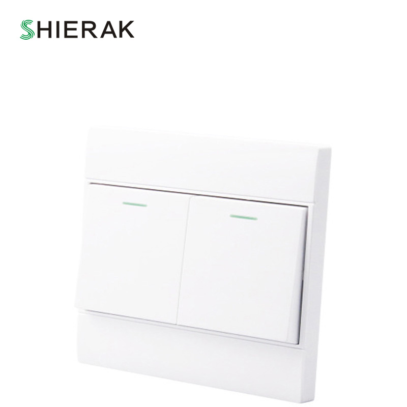SHIERAK Clsssical Home Power Light Switch 2 Gang 1 Way Power Push Button Switch 10A 250V 86 PC Panel Wall Switch ln kdc a11 4a 128a 250v switch button switch