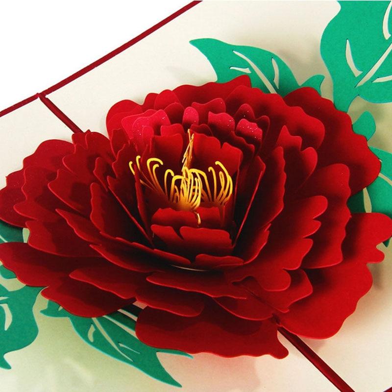 3D Pop Up Paper Laser Cut Greeting Cards Creative Handmade Peony Birthday Christmas Anniversary Souvenirs Postcards W212