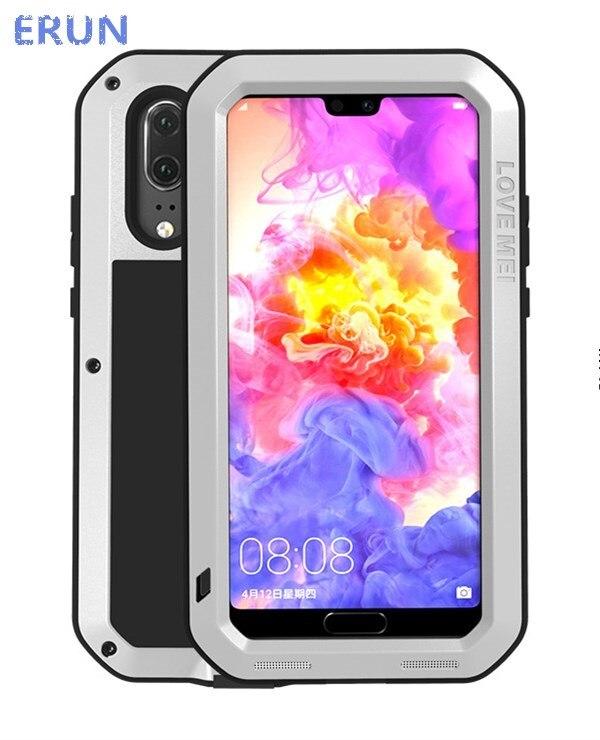 ERUN pour Huawei P20 étui de luxe étui triple preuve anti-coup en métal silicone lentille protection étui de veste
