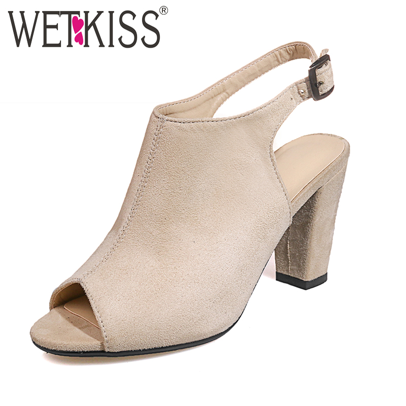 WETKISS Big Size 34-43 Slingback Sandals Women Sexy Peep toe Buckle Summer Ladies Shoes High Heels Back Strap Flock Sandals lady elegant sexy big size 4 17rhinestone peep toe pu buckle strap thin high heels women shoes pumps sandals girls summer style