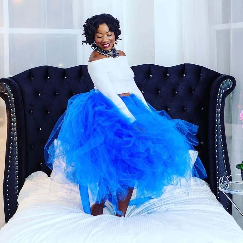 Jupes Luxuriante Sur Bal Longueur Robes Bleu Saias À Mode Jupe Grande Fait Tutu Mesure Femmes Cheville Pour Chic Royal Tulle Partie De Taille 3cKTFul1J5