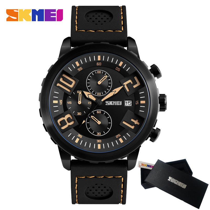 SKMEI Chronograph Casual Watch Men Luxury Brand Quartz Sport Watch Genuine Silicone Men's Watches Quartz-watch Relogio Masculino reef tiger brand men s luxury swiss sport watches silicone quartz super grand chronograph super bright watch relogio masculino