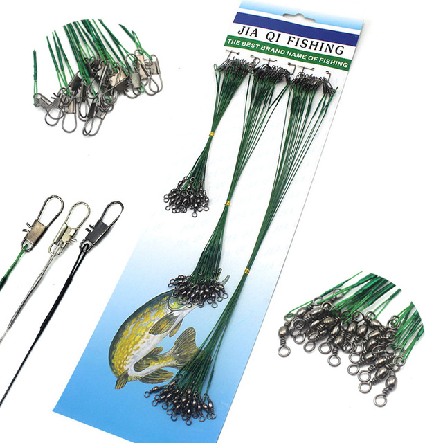 72Pcs Fishing Lines Leader For Wire Leader line with Spinner Metal Swivel Fishing line Rope 15cm 22cm 30cm Fishing Accessory