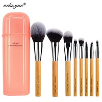 Vela Yue Essential Makeup Brush Set Synthetic Face Cheek Eyes Lips Beauty Tools Kit With Gift