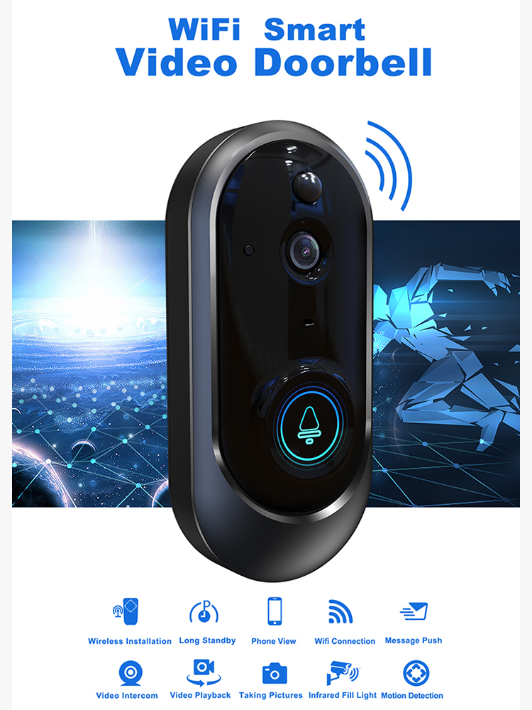720P Smart WiFi Video Doorbell Camera Wireless Home Visual Intercom Night vision Security Camera PIR Motion Detection for PHONE720P Smart WiFi Video Doorbell Camera Wireless Home Visual Intercom Night vision Security Camera PIR Motion Detection for PHONE