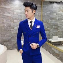 Royal Blue Mens Suits Slim Fit Plus Size 4XL Latest Coat Design Double Breasted Tuxedo Prom Suits 3 Pieces (Jacket+Vest+Pants)