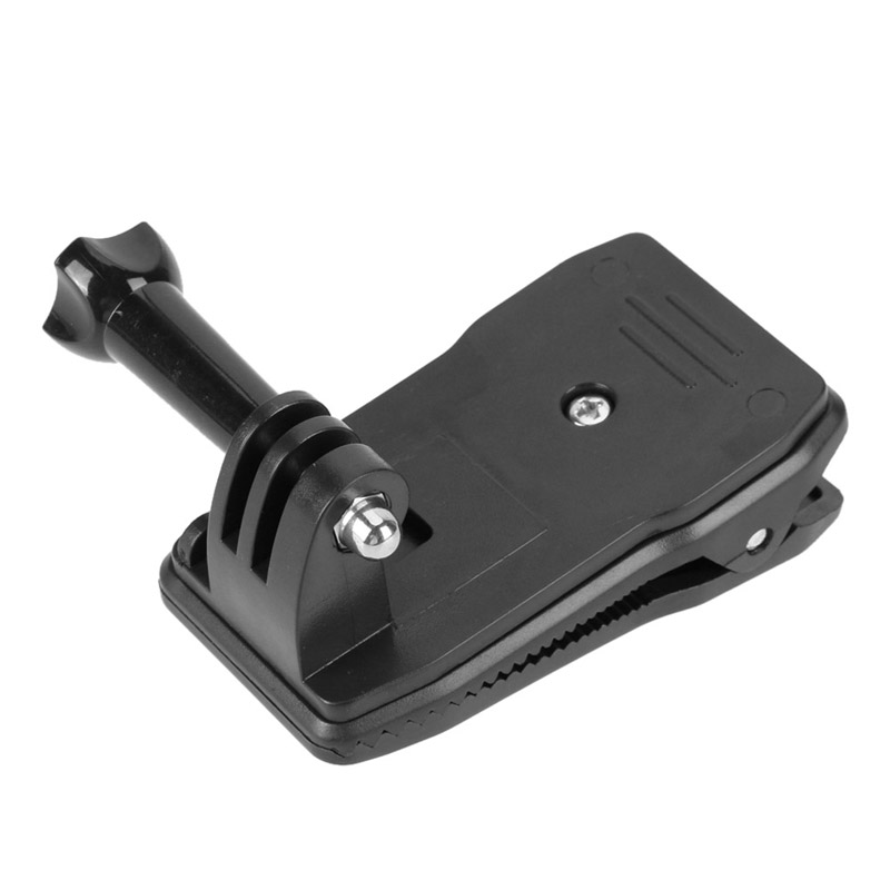 360 Rotatable Camera Backpack Clip Black Portable Camera Clip Stand Stabilizer Clamp with Screw for GoPro Hero 4/3+/ 3/2/1